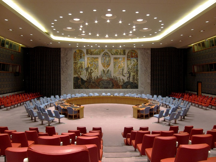 UN Security Council Chamber - Not exactly a table but more a long curved desk.